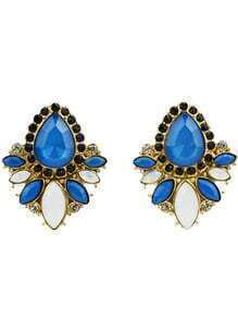 Blue White Gemstone Gold Diamond Earrings