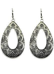 Retro Silver Hollow Drop Dangle Earrings