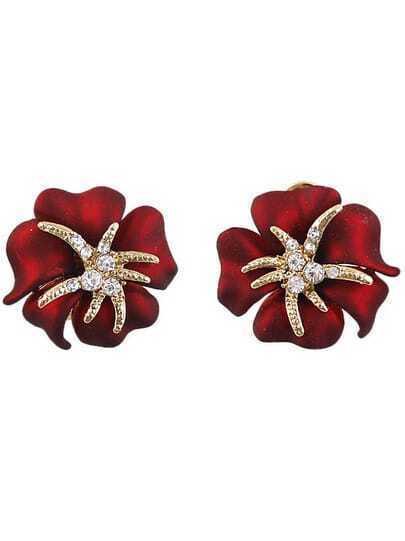 White Diamond Red Flower Stud Earrings