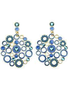 Blue Circle Hollow Earrings