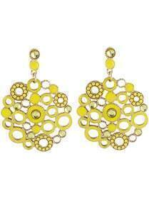 Yellow Circle Hollow Earrings