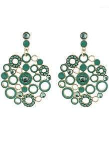 Green Circle Hollow Earrings