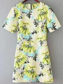 Yellow Short Sleeve Slim Floral Dress