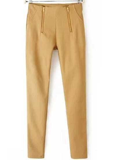 Khaki Zipper Slim Pencil Pant