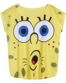 Yellow Sleeveless SpongeBob Print T-Shirt