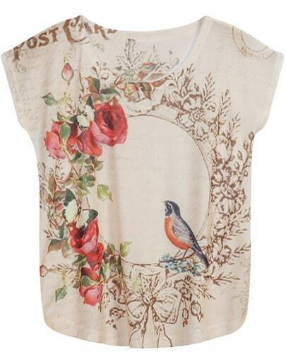 Apricot Sleeveless Floral Bird Print T-Shirt