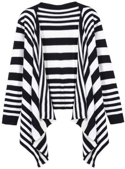 Black White Long Sleeve Striped Cardigan