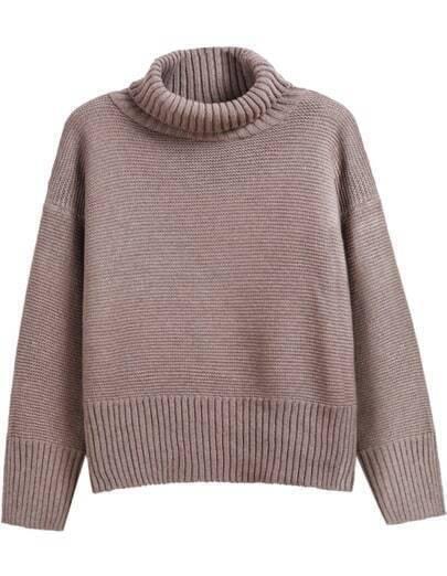 Khaki High Neck Long Sleeve Knit Sweater
