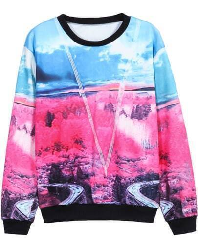 Blue Red Long Sleeve Sky Forest Print Sweatshirt