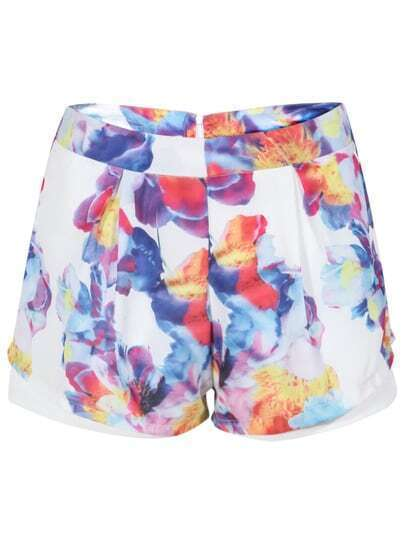 White Floral Double Layers Shorts
