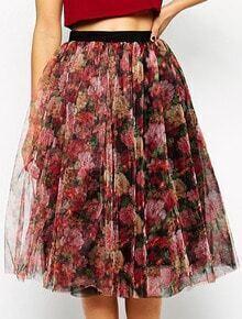 Red Vintage Floral Mesh Skirt