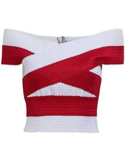 Red White Off the Shoulder Crop Top