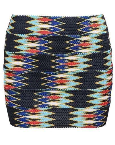 Black Geometric Print Mini Skirt