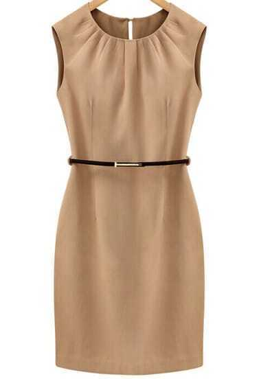 Khaki Sleeveless Slim Bodycon Dress