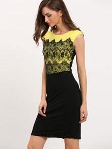 Yellow Zippered Black Workwear Sleeveless Lace Bodycon Dress