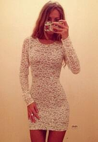 White Long Sleeve Slim Lace Bodycon Dress
