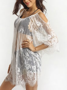 White Off the Shoulder Sheer Lace Blouse