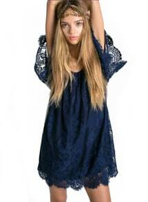 Navy Off the Shoulder Sheer Lace Blouse