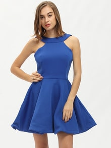 Blue Sleeveless Halter Flare Dress