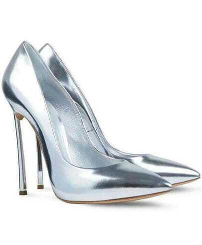 Silver High Heel Sparkle Shoes