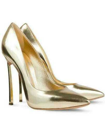 Gold High Heel Sparkle Shoes