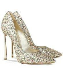 Multicolor High Heel Sequined Sparkle Shoes -SheIn(Sheinside)