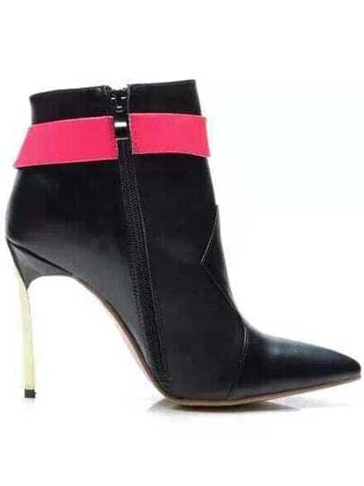 Black Red Buckle Metal High Heel Shoes