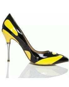 Black Yellow High Heel Patent Leather Shoes