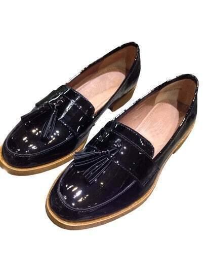 Black Tassel Patent Leather Shoe