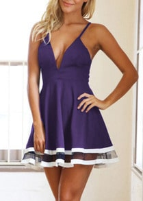 Purple Spaghetti Strap Sheer Mesh Dress