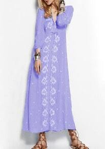 Purple V Neck Embroidered Maxi Dress