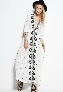 White V Neck Embroidered Maxi Dress