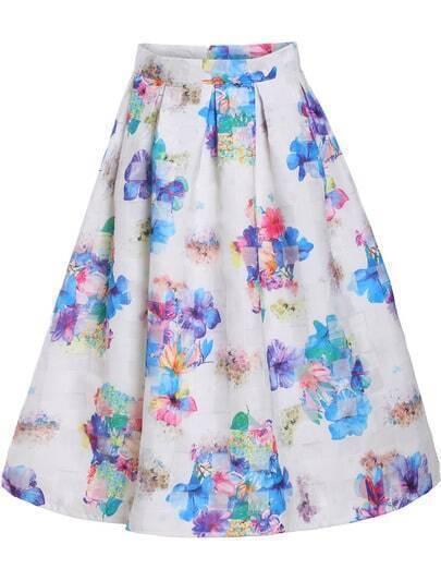White Floral Organza Midi Skirt
