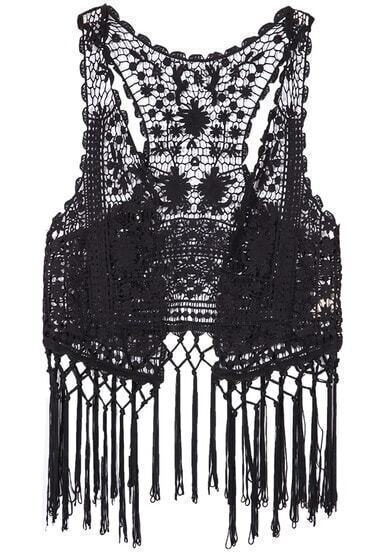 Black Sleeveless Hollow Tassel Lace Tank Top