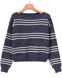 Dark Grey Long Sleeve Striped Crop Sweater