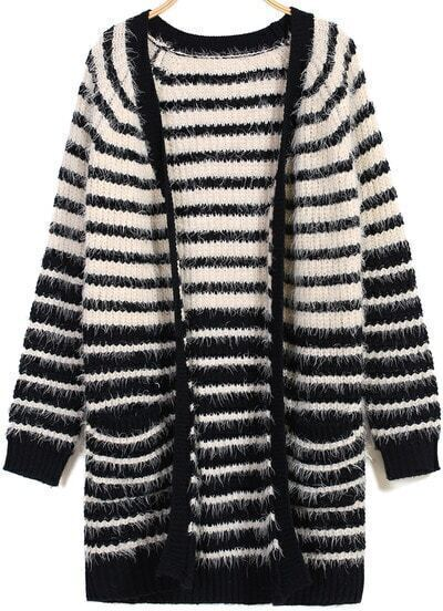Black Apricot Long Sleeve Striped Cardigan
