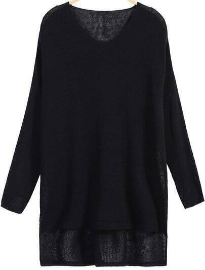 Black Long Sleeve Dipped Hem Sweater
