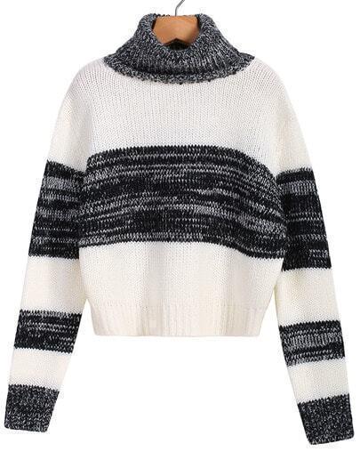Black White High Neck Striped Crop Sweater