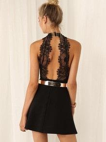 Black Halter Contrast Lace Backless Dress(Exclude Belt)