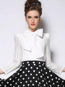 White Long Sleeve Bow Embellished Blouse