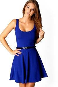 Blue Scoop Neck Sleeveless Pleated Dress
