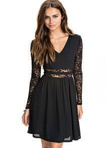 Black V Neck Long Sleeve Lace Pleated Dress