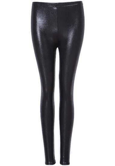 Black Slim Elastic PU Leggings