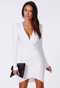 White Formaldresses Deep V Neck Bodycon Dress