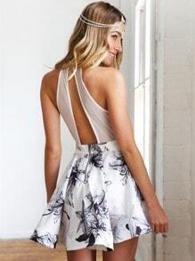 White Sleeveless Halter Floral Flare Dress