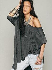 Dark Grey Long Sleeve Asymmetric Loose T-shirt