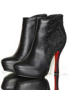 Black High Heel Zipper Lace Shoes