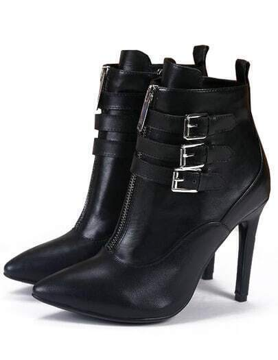 Black High Heel Zipper Buckle Shoes