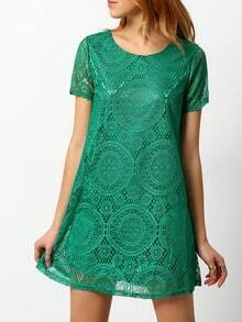 Green Short Sleeve Hollow Lace Dress