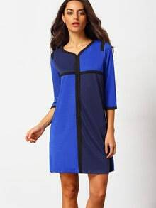 Blue Quarter Sleeve Loose Colorblock Straight Dress